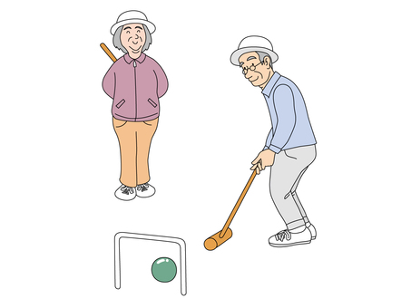 An old couple playing gateball