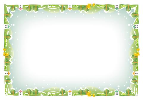 Winter scene decorative frame