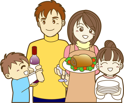 Families preparing for meals