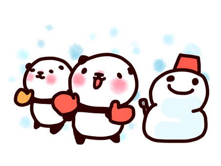 Gloved panda and snowman