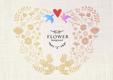 Background material / handwritten flower [heart shape]