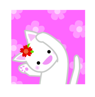 Nyanko with flowers back