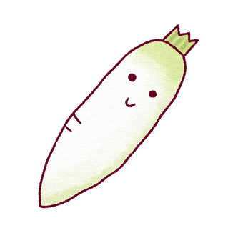 Face attached Daikon