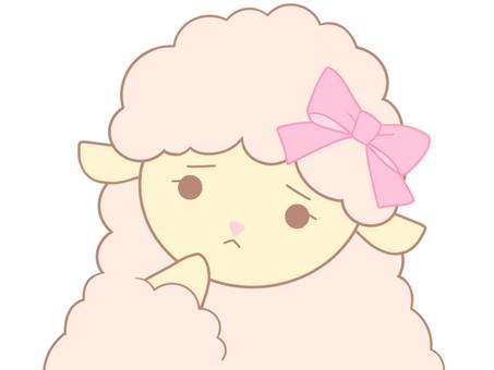 ピンクのひつじちゃん(考えるB)