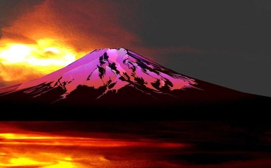 Romantic Fuji at sunset