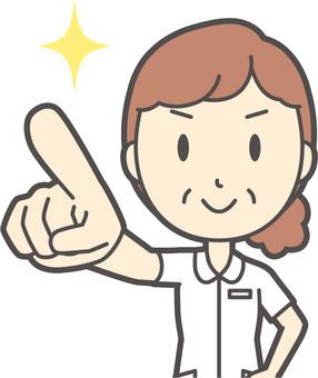 Middle-aged female nurse white coat-217-Bust