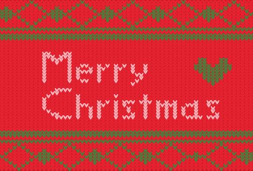 赤×緑_ニットのクリスマスカード