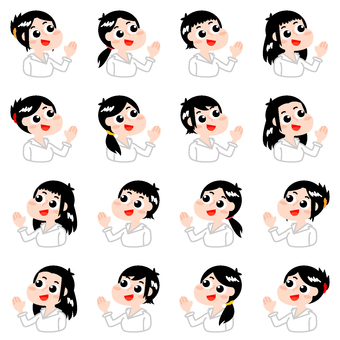 Women's guide set (8 kinds of black hair · right-and-left direction)