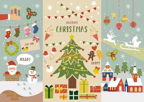 Christmas illustration material set