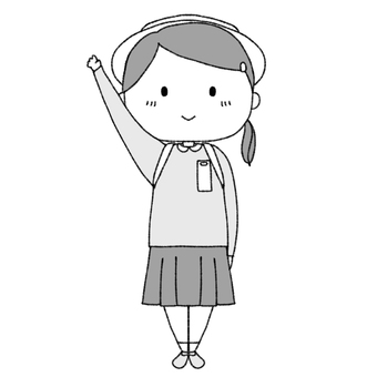First grade elementary school girl (black and white)