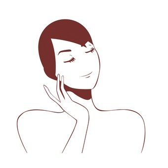 Women's line drawings touching the cheek with fingers