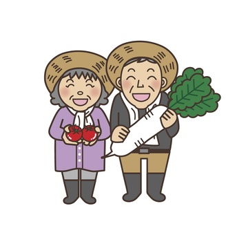 Radish and tomato and farmer's couple whole body