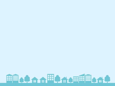 도시 거리 실루엣 블루 프레임