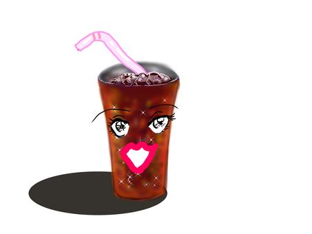 Talking lady-looking tumbler ice coffee