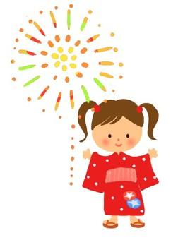 Yukata and fireworks