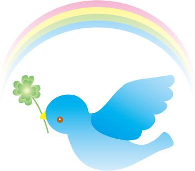 Blue bird and clover and a rainbow