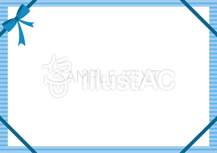 リボン ストライプ ブルー 背景 カードのイラスト