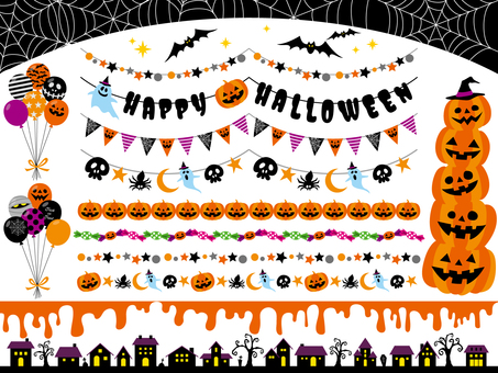 Set of Halloween decorations and garland