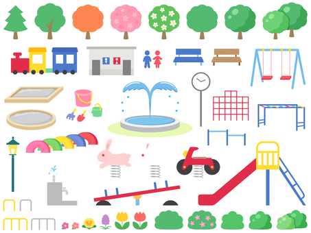 Park playground equipment and wooden icon set