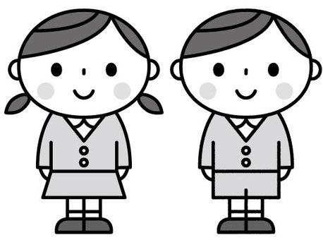 귀여운 원아 / 보육 / 유치원 / 흑백