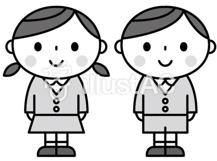 かわいい園児保育園幼稚園モノクロイラスト No 1307357無料