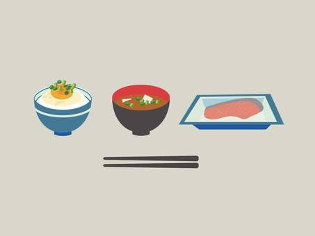 Breakfast with egg-hung rice, salmon and miso soup set
