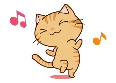 Dancing tea tiger cat