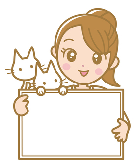 Announcement board and cat