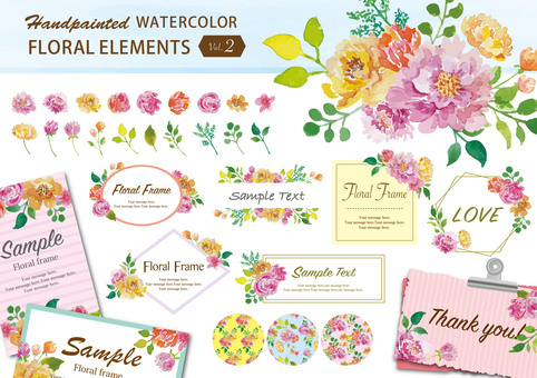 Watercolor flower luxury frame set 2