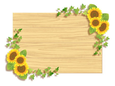 Sunflower and wood frame 03