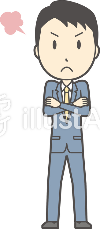スーツ男性ネイビー-319-全身のイラスト