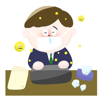 A salaryman masking with hay fever