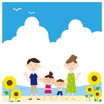 Good friend family sea frame sunflower