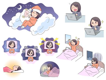 Illustration about sleep (female)