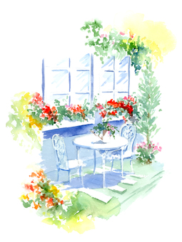 Garden window painted with watercolors Garden chair