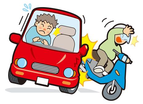 Traffic Accident Car Bike Illustration