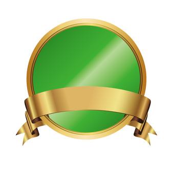 Three-dimensional Gold Ribbon Icon Button