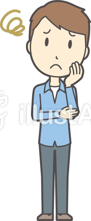 ブルー襟シャツ男性-204-全身のイラスト
