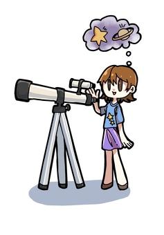 Illustration of a girl peeking through a telescope