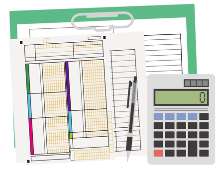 Calculation document, calculator, calculation, ballpoint pen, settlement statement