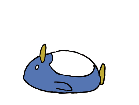 Penguin lying on its back