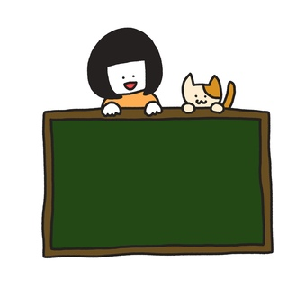 Cat and girl with blackboard