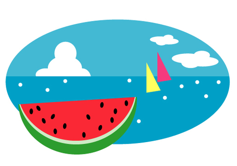 Watermelon, sea and summer sky