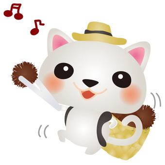 White cat picking chestnut