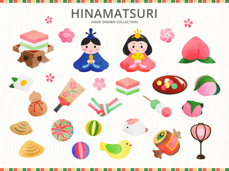 Illustration set of the Hina Matsuri