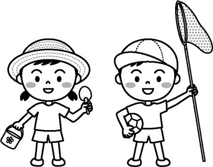 Summer child (park play monochrome)