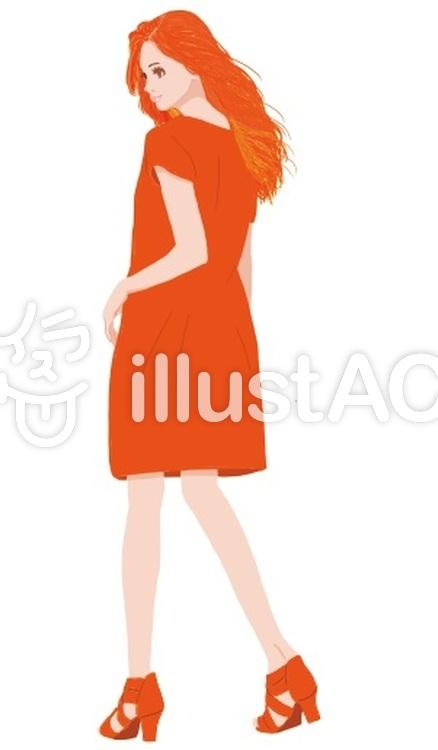 オレンジの娘のイラスト