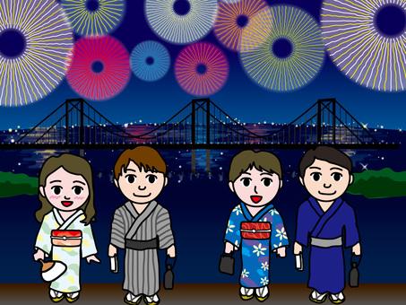 도쿄 만 불꽃 놀이와 레인보우 브릿지 (2)