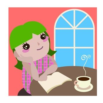 A woman thinking, a coffee shop