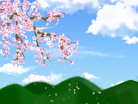 Mountain and cherry tree